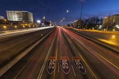 Atlanta interstate 85 freeway night Stock Photos
