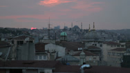 Stock Video Footage of The rooftops of Istanbul and it's famous Mosques at dusk
