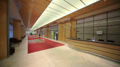 Girl walking down modern corridor in government of Moscow Stock Footage