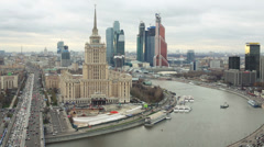 Cityscape with river and Moscow City business complex Stock Footage
