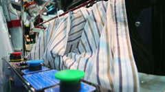 Working of machine for ironing automatically shirts Stock Footage