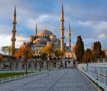 Sininen moskeija, istambul osaksi auringonnousu valot Kuvituskuvat