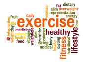 Stock Illustration of exercise word cloud