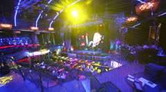 People at blue light place before Brilliant Jazz Club concert Stock Footage