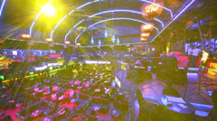 Top view to blue light area before Brilliant Jazz Club concert Stock Footage