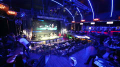 Blue light area with stage before Brilliant Jazz Club concert Stock Footage