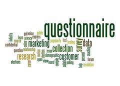 questionnaire word cloud - stock illustration