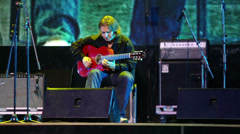 Roman Miroshnichenko plays guitar at Brilliant Jazz Club concert Stock Footage