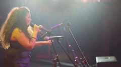 Curvy women with Jazz band Phonograph performs at concert Stock Footage