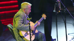 Andrei Makarevich plays guitar at Brilliant Jazz Club concert Stock Footage
