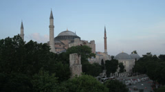 The Hagia Sophia in Istanbul at dusk Stock Footage