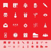 Stock Illustration of celebration color icons on red background
