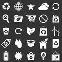 Stock Illustration of ecology icons on gray background