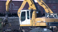 Loader and rail cars at the factory Stock Footage