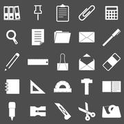 stationary icons on gray background - stock illustration