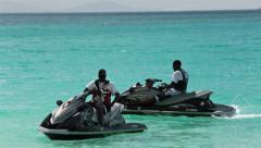 Jet ski Antigua Caribbean Ocean beach HD 1232 - stock footage