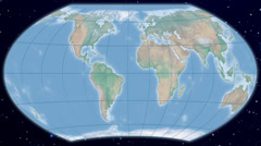 Wagner VI world map projection - natural earth Stock Footage