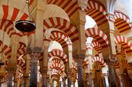 Stock Photo of the great mosque and cathedral mezquita famous interior in cordoba, andalusia