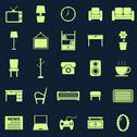 Stock Illustration of living room icons on black background