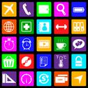 Stock Illustration of application colorful icons on black background. set 2