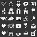 Stock Illustration of wedding icons on black background