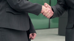Business Couple Shaking Hands And Leaving After Meeting. Stock Footage