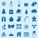 Stock Illustration of winter color icons on blue background