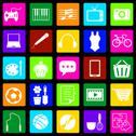 Stock Illustration of hobby colorful icons on black background