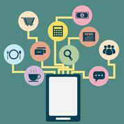 Tablet application concept idea in flat style Stock Illustration