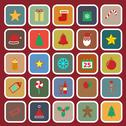 Stock Illustration of christmas flat color icons on red background