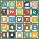 Stock Illustration of ecology flat icons on green background