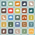 Stock Illustration of weather flat icons on blue background