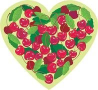 heart is made by sweet cherries - illustration for valentine`s day - stock illustration