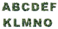 Green park font with grey cubing border Stock Illustration