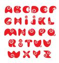 Stock Illustration of abc - english alphabet - red funny spiral cartoon letters