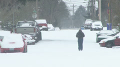 Person Walking in Snow Storm Stock Footage