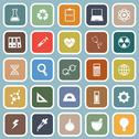 Stock Illustration of science flat icons on blue background