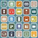 Stock Illustration of electrical machine flat icons on blue background