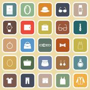 Dressing flat icons on brown background Stock Illustration