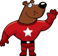Superhero Bear Waving - stock illustration