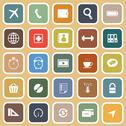 Stock Illustration of application flat icons on orange background. set 2