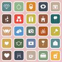 Stock Illustration of wedding flat icons on pink background