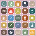 Stock Illustration of celebration flat icons on pink background