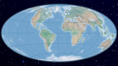 Hammer world map projection - natural earth Stock Footage