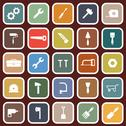 Stock Illustration of tool flat icons on red background