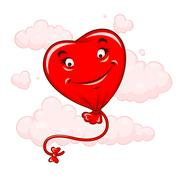 Red heart flying among clouds - stock illustration