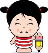 Girl Pencil Stock Illustration