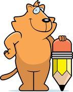 Cat Pencil - stock illustration