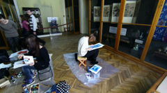 Girls of the artist in the Museum of Ethnography Stock Footage