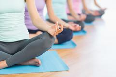 Cropped sporty women in lotus pose at fitness studio - stock photo